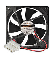 Вентилятор корпусной LogicPower F12B 120MM, 4pin (Molex питание), цвет-черный, фото 1