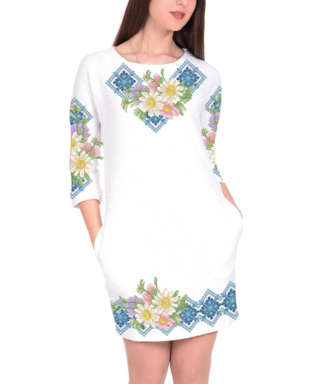 Заготовка жіночого плаття чи сукні для вишивки та вишивання бісером Бисерок  «Ромашки в гол орнаменті» (П-146г ) Габардин