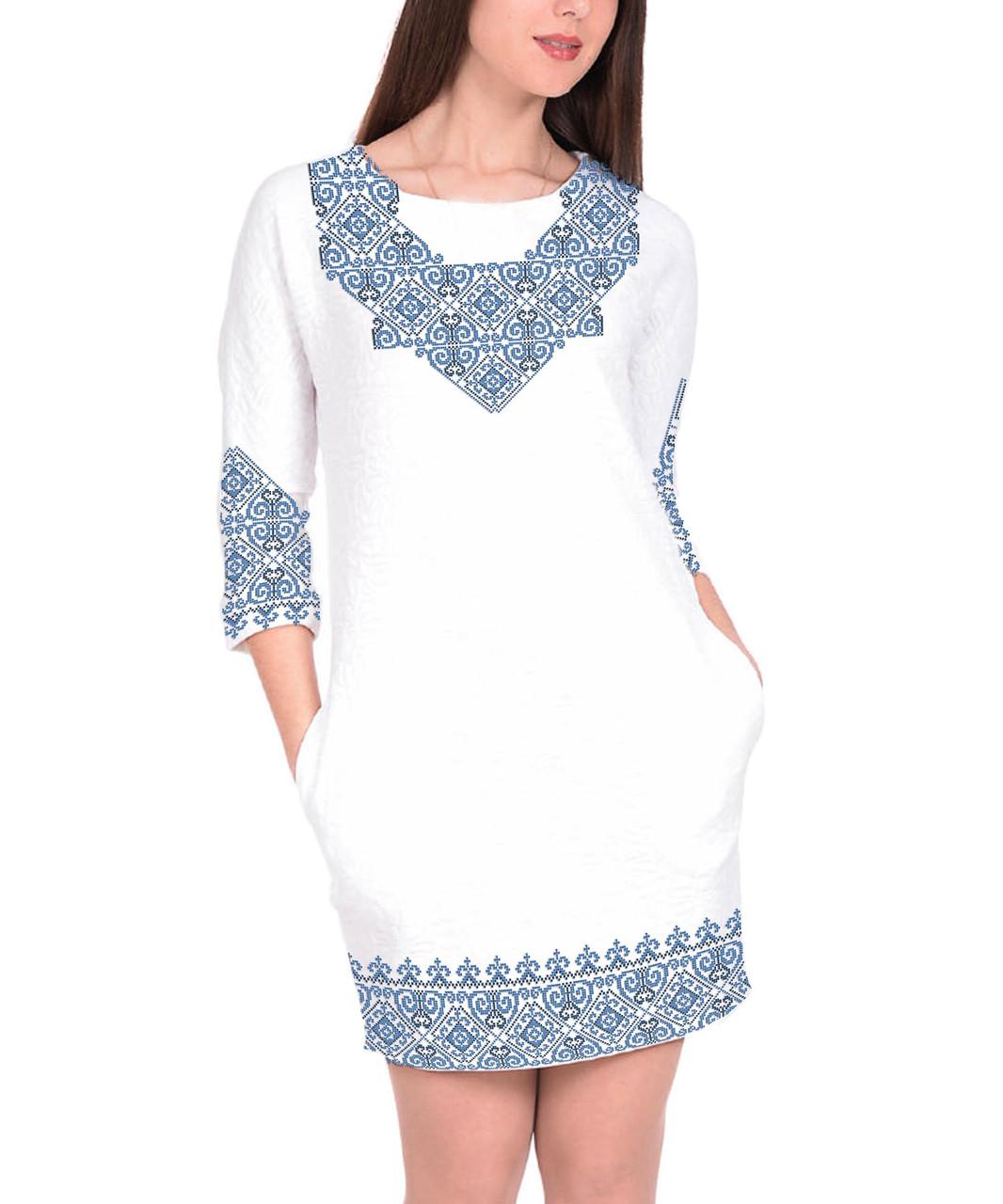 Заготовка жіночого плаття чи сукні для вишивки та вишивання бісером Бисерок  «Мотив» (П-157 ГБ) Габардин