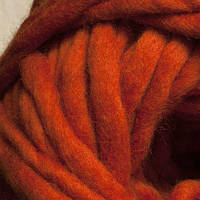 Толстая пряжа ручного прядения. 100% шерсть. Цвет Рыжий