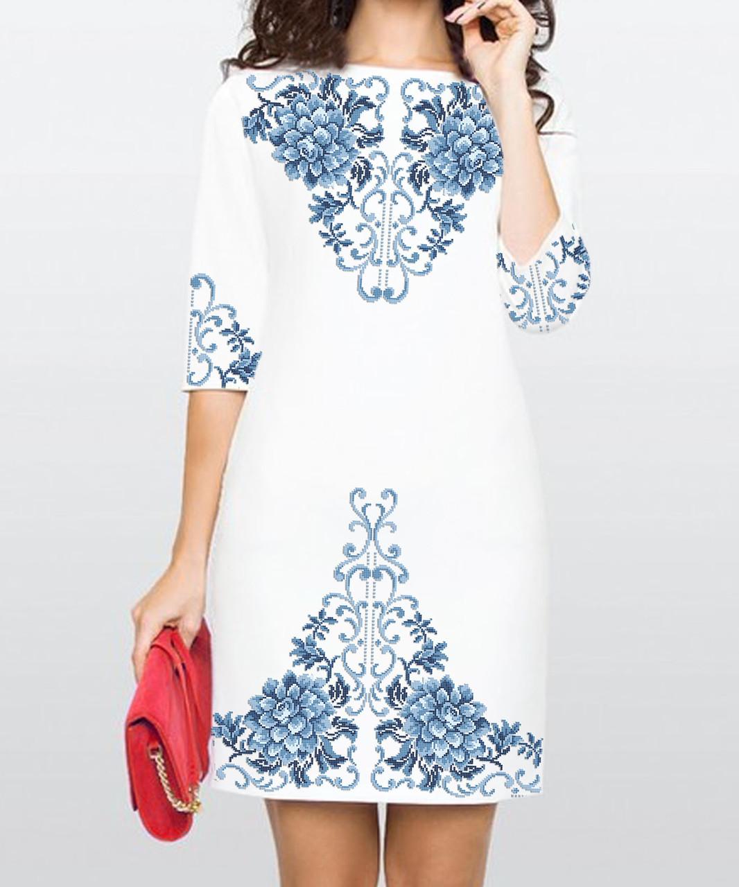 Заготовка жіночого плаття чи сукні для вишивки та вишивання бісером Бисерок  «Жоржина» (П-164 ГБ) Габардин