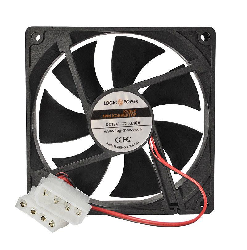 Вентилятор корпусной LogicPower F9NB, 3pin (питание), цвет-черный