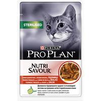 Purina Pro Plan Sterilised Beef паучи кусочки в соусе для кастрированных кошек с говядиной 85гр
