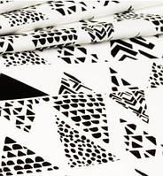 Ткань. Хлопок Черные треугольники с узором. Отрез 25х40см