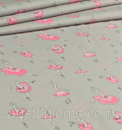 Ткань. Хлопок Балерины в розовых пачках на сером фоне. Отрез 25х40см
