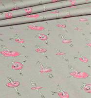 Ткань. Хлопок Балерины в розовых пачках на сером фоне. Отрез 25х40см, фото 1