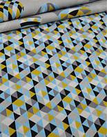 Ткань. Хлопок с голубыми и горчичными треугольниками 1см. Отрез 25х40см