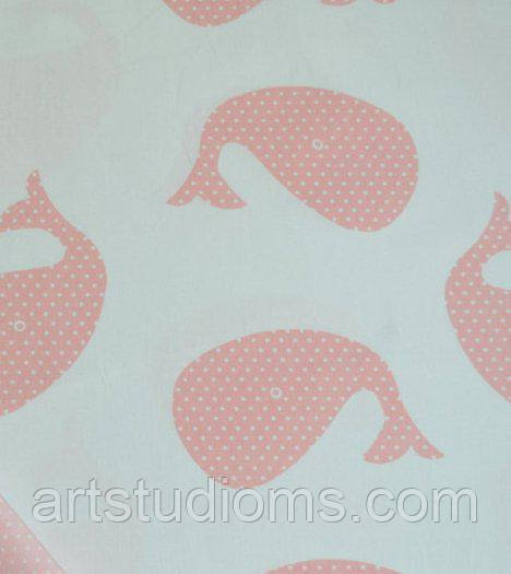 Ткань. Хлопок Рыба-кит. Цвет розовой пудры. Отрез 25х40см