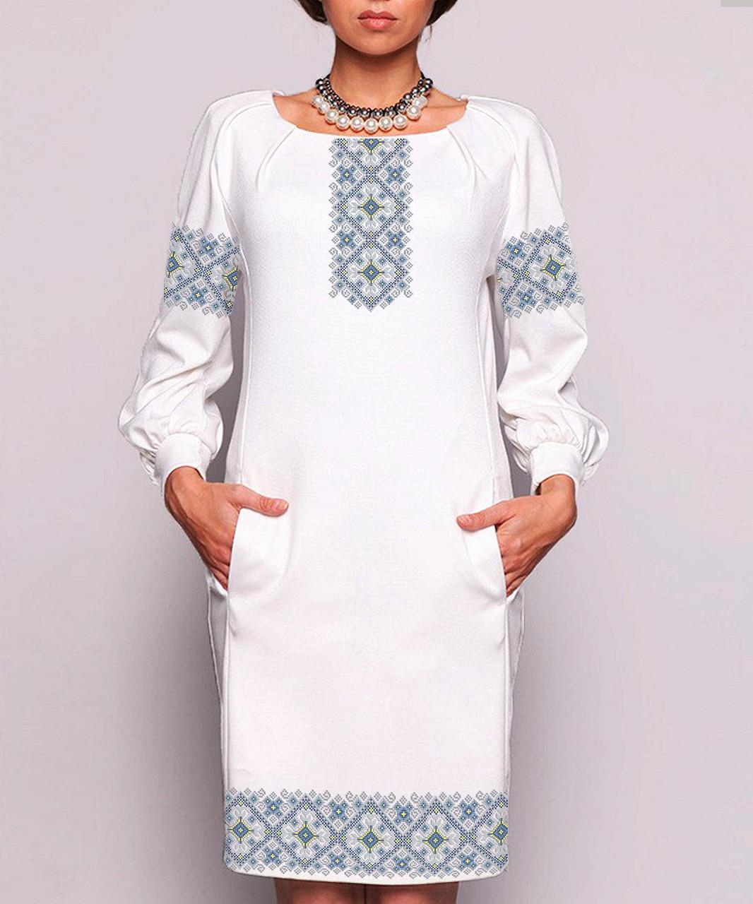Заготовка жіночого плаття чи сукні для вишивки та вишивання бісером Бисерок   «Орнамент 95» (П-95 ГБ) Габардин
