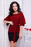 Блуза Louise 1530, (5цв), шифоновая блуза, блуза с воланом