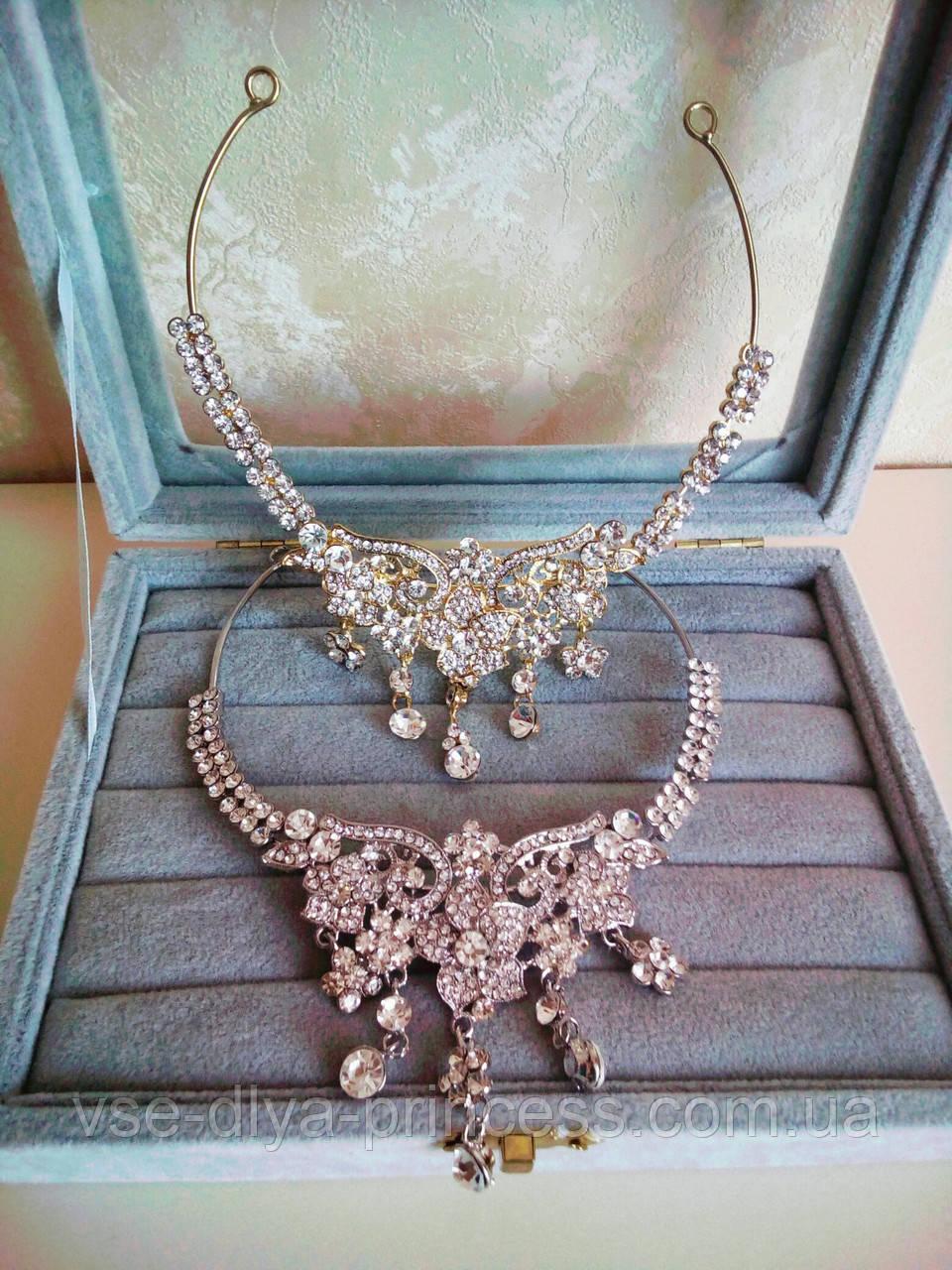 Диадема, украшение под золото в восточном стиле, тикка с подвесным камнем, корона, тиара, высота 7 см.