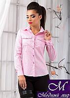 Женская нежно-розовая рубашка в мелкий квадратик (р.S, M, L, XL) арт. 9814