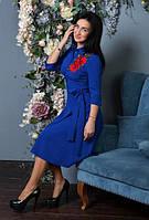 Платье миди под поясочек с вышивкой, фото 1