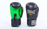 Перчатки боксерские Стрейч на липучке EVERLAST UR LV-5376-BK (р-р 8-12oz, черно-зеленый)