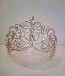 Свадебная корона, диадема, тиара под золото для невесты,  высота 8,5 см., фото 2