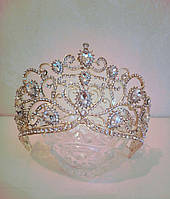 Свадебная корона, диадема, тиара под золото для невесты,  высота 8,5 см.
