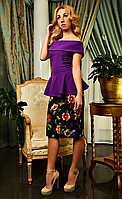 """Женское платье с баской """"Милана"""" фиолетового цвета"""
