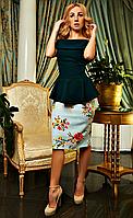 """Платье с баской """"Милена"""" изумрудного цвета в большом размере"""