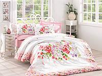 Хлопковый комплект постельного белья ЕВРО размера Cotton Box HELIA PUDRA CB03