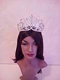 Свадебная корона, диадема, тиара под золото для невесты,  высота 8,5 см., фото 6