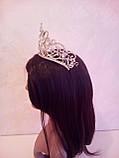 Свадебная корона, диадема, тиара под золото для невесты,  высота 8,5 см., фото 7