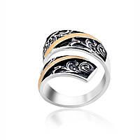 Оригинальное кольцо в стиле Бохо из серебра и золота Юрьев 355к - 355к 16.5