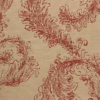 Жаккардовая ткань для штор COLOMBUS-3200-004 с красным растительным рисунком