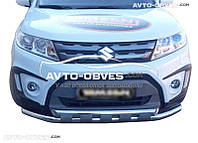 Защита переднего бампера Suzuki Vitara 2015-... Ø60мм, двойной ус с пластинами