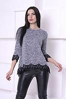 Модная женская блуза с гипюром. Серая. S(42-44),M(44-46),L(46-48),XL(48-50).