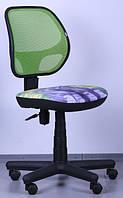 Кресло Чат сиденье Дизайн № 8 Котята/спинка Сетка салатовая