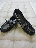 Туфли женские без каблука черно-серебристые