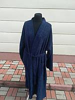 Махровый мужской халат синего цвета  (L)