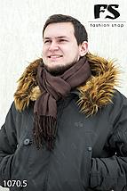 Коричневый мужской стильный шарф из жаккарда, фото 3