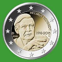 Германия 2 евро 2018 г. 100 лет со дня рождения Гельмута Шмидта ( J ) , UNC