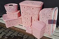 Комплект АЖУР: Корзина для белья 67л+корзина для сухого белья 28л+мусорник+ерш+комплект корзин для мелочей