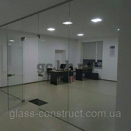Стеклянная перегородка неподвижная из прозрачного закаленного стекла