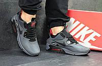 Мужские кроссовки  Nike Air Max 90 (серые), ТОП-реплика, фото 1