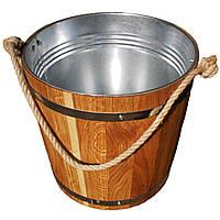 Ведро из дуба для бани Seven Seasons™ с оцинкованной вставкой, 15 л