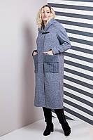 """Женское пальто """"Миди"""" с вязанными карманами 48-54рр синий меланж"""