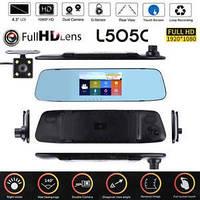 """Відеореєстратор-дзеркало сенсорне з двома камерами L505C (4,3"""") HD1080p"""