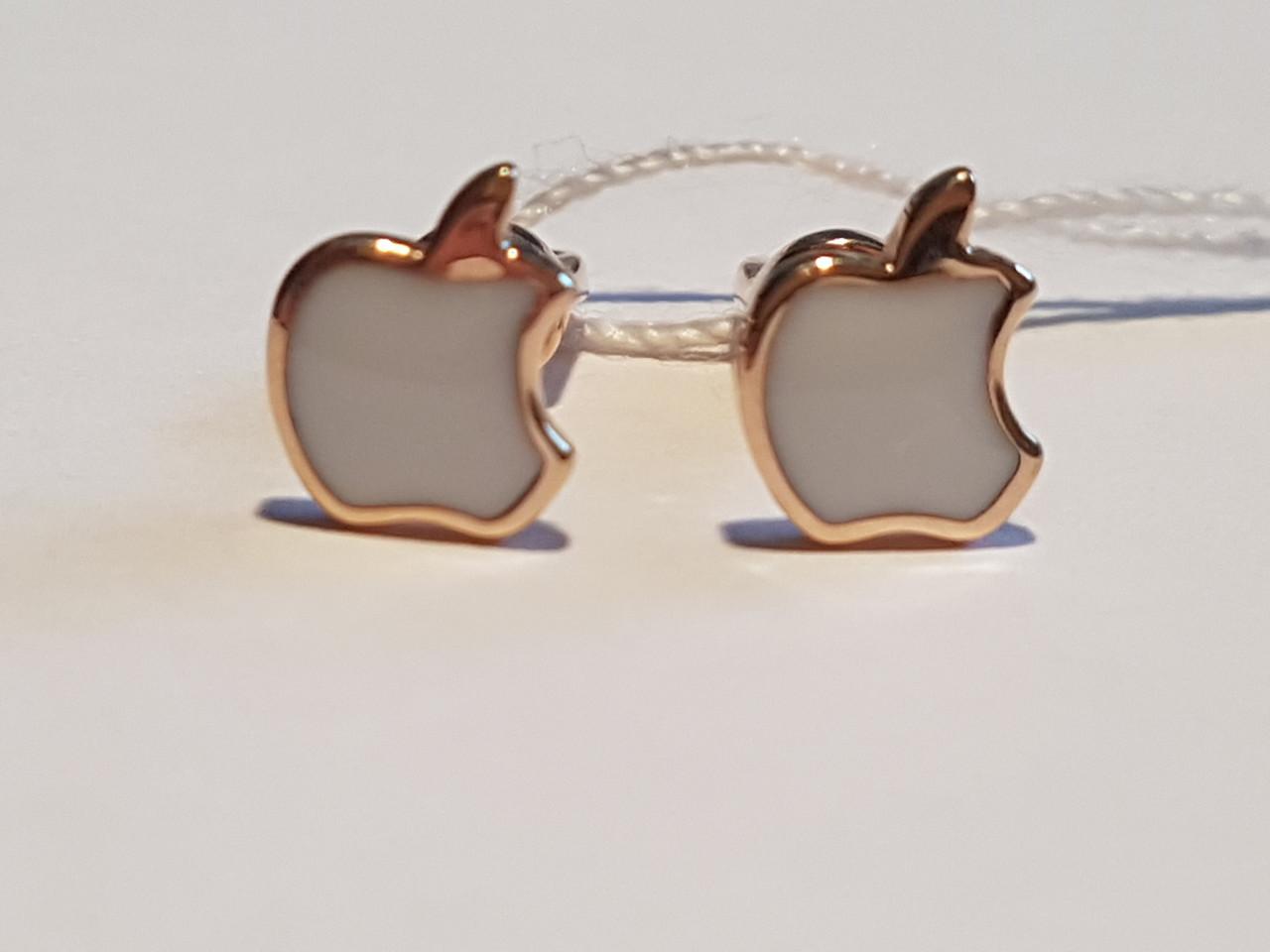 Золотые серьги-пуссеты с эмалью. Артикул 500036Е