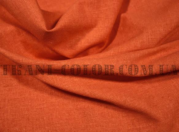 Ткань лён стрейч оранжевый, фото 2
