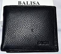 Мужской классический черный кошелек из натуральной кожи Balisa на магните 11,5*10,5 см