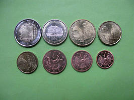 Андорра набір монет євро 2014 р. від 1 цента до 2 євро ,UNC