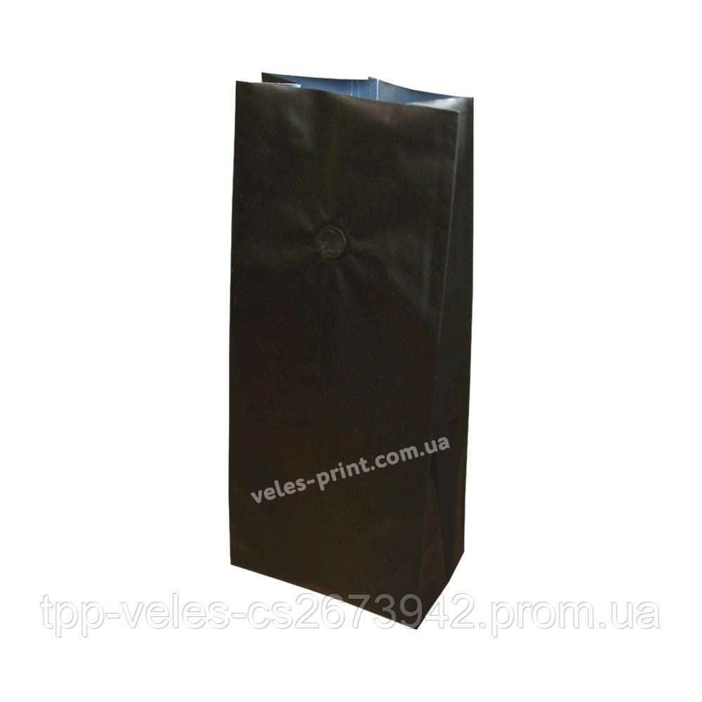 Пакет с центральным швом и дегазирующим клапаном 250 г Черный 135*360 (35+35)