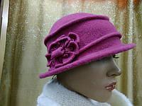 Шляпы RABIONEK из мягкой шерсти с цветком р-р 56-57, ягодный цвет
