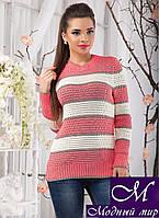 Вязаный женский свитер в коралово-белую полоску (ун.42-48) арт. 11054