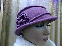Шляпы RABIONEK из мягкой шерсти с цветком р-р 56-57, сиреневый цвет