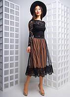 Костюм кружевной топ и пышная юбка сетка с кружевом