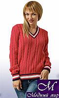 Вязаный женский свитер цвета коралл (ун.42-46) арт. 6161